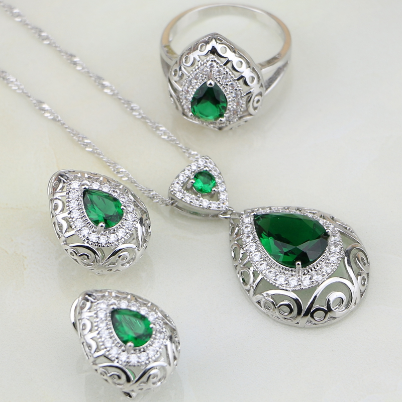 Green Stones White Australian Crystal 925 Sterling Silver Bridal Jewelry Sets For Women Wedding Earrings/Pendant/Necklace/Ring