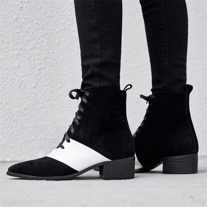Здесь можно купить  NAYIDUYUN      Women Genuine Leather Riding Ankle Boots Winter Warm Pointed Toe Oxfords Shoes Casual Shoes Lace Up England Shoes  Обувь