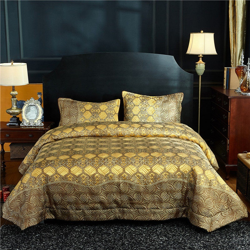 Luxury Gold Blue Brown European Jacquard Cotton Blanket Tatami Mat Summer Quilt Bedspread Bed sheet Pillowcases Bedding Set 3pcsLuxury Gold Blue Brown European Jacquard Cotton Blanket Tatami Mat Summer Quilt Bedspread Bed sheet Pillowcases Bedding Set 3pcs
