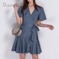 Riokeke Retro Polka Dot Dress Summer Women Dresses 2018 Ruffles Tunic Sashes Short Sleeve Dress Sexy Women Sundress Vestidos