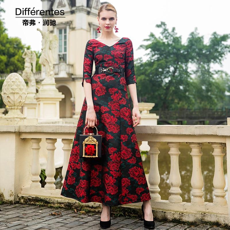 e18e4562612e9c2 Элегантный жаккардовые вечерние макси красное платье 1/2 рукава мяч одежда  для взрослых 2018 вышивка