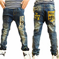 New Arrivals 2016 Boy Jeans Fashion Letter Print Pocket Loose Straight Slim Casual Kids Boys Trousers Children's Boys Clothes