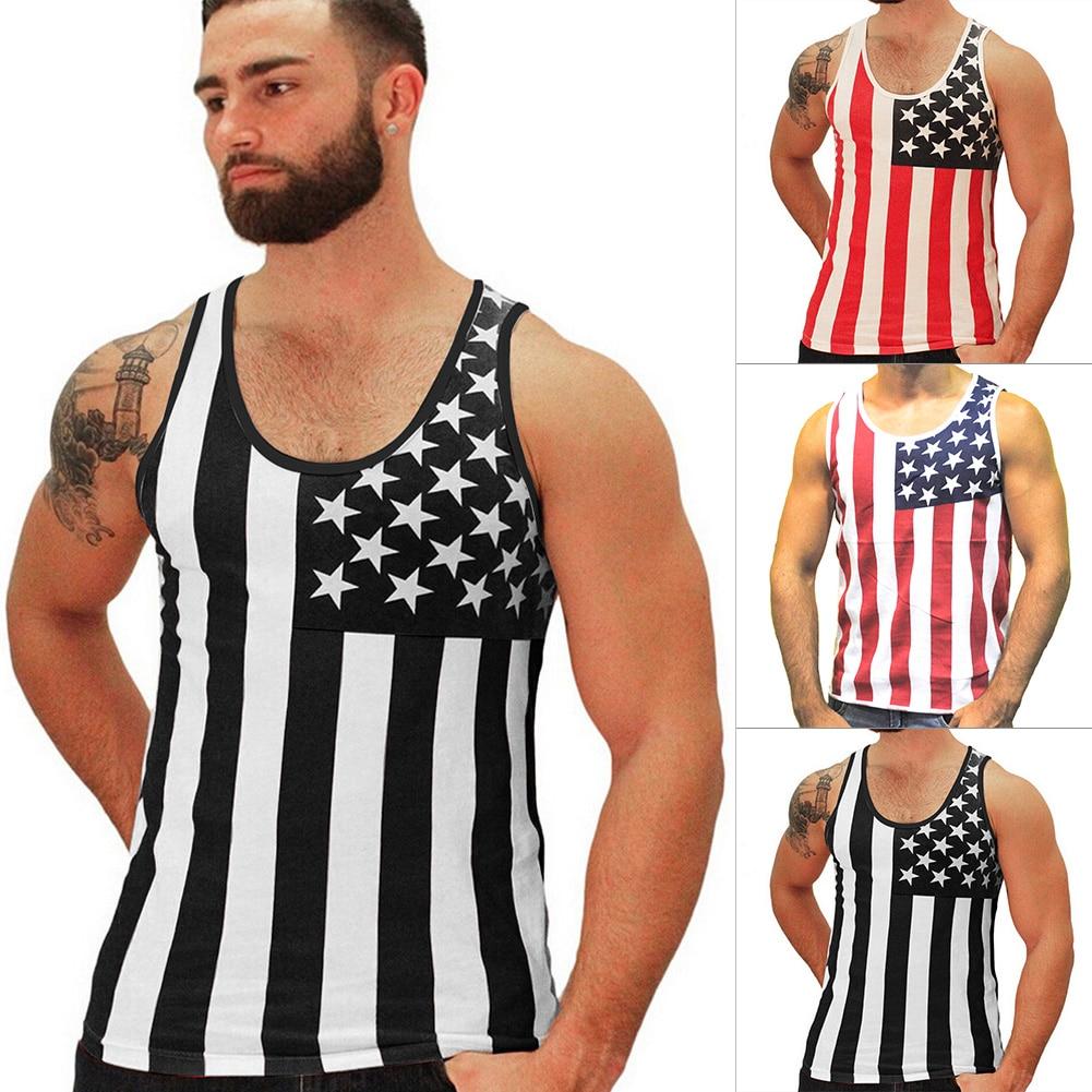 Mens Flag Stripe Tank Top Fashion 2016 Cotton Slim Fit Men Tops Baju Kaos Singlet Tanktop Pria Bodybuilding Undershirt Fitness In From Clothing Accessories