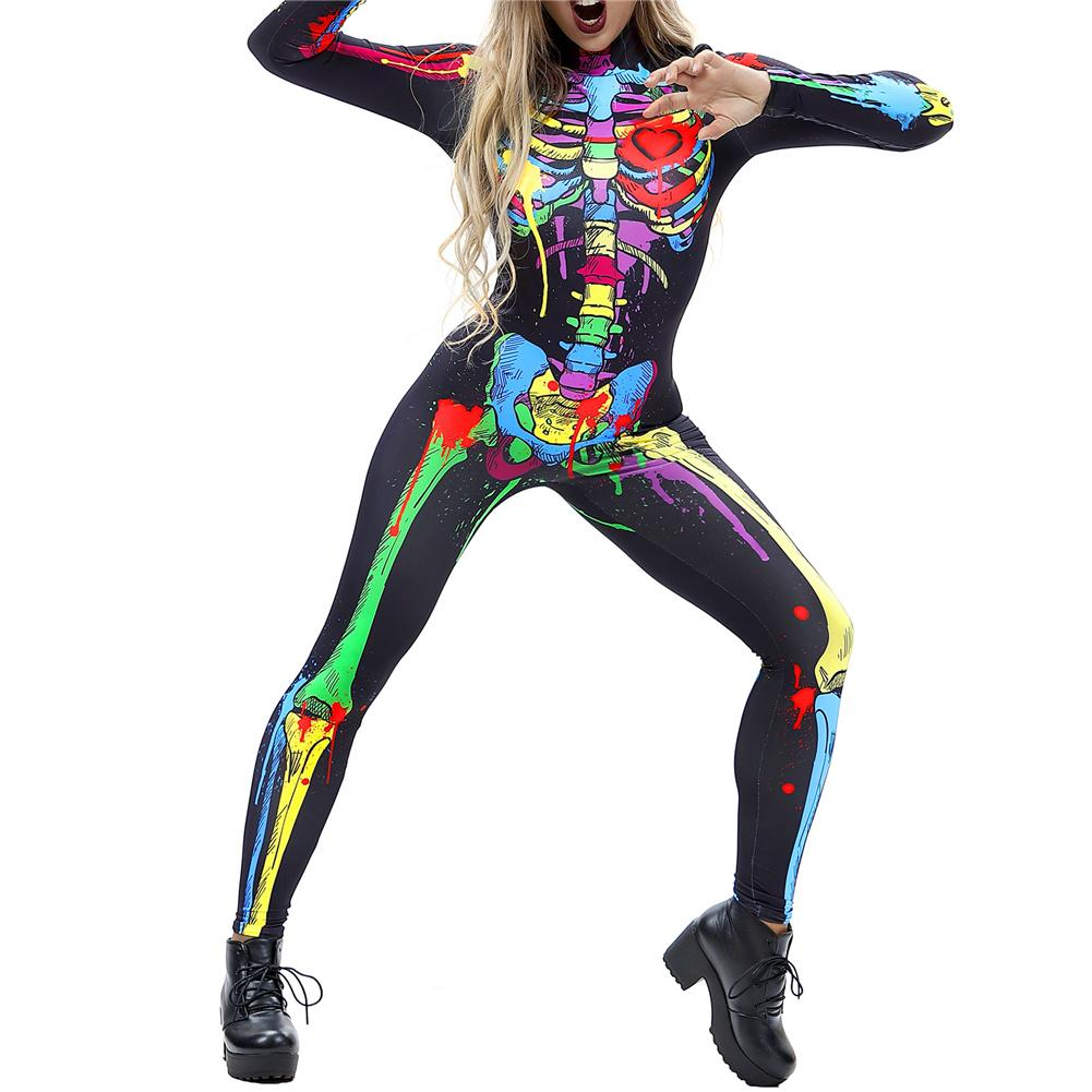 Image 2 - Halloween Costumes For Women Horror Zombie Costume Female Sexy Skeleton Costume Halloween Clothes Jumpsuit Bodycon S XL-in Scary Costumes from Novelty & Special Use