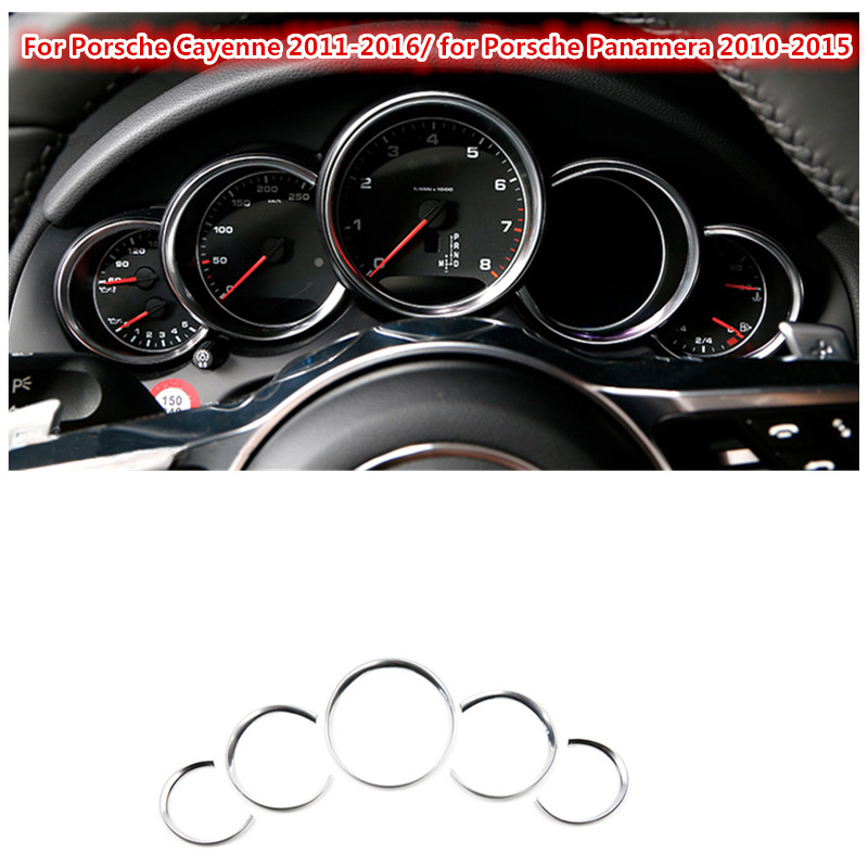 For Porsche Cayenne 2011-2016 FOR Porsche Panamera 2010-2015 ABS Chrome ABS Dashboard Console Decorative Ring Trim 5pcs citilux подвесная люстра citilux базель cl407155
