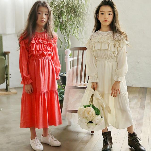 Brand Girl Lace Dresses 2019 New Spring Girls Baby Long Sleeve Dress Toddler Princess Dress Kids Dresses Maxi Long,#3944