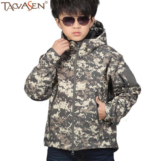 fe456223d TACVASEN Winter Tactical Jacket Children Softshell Hiking Jacket ...