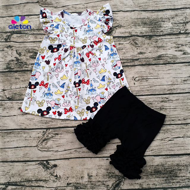 fefb583a43b60 2017 wholesale baby girl flutter mickey pearl top with icing shorts set baby  summer boutique clothing