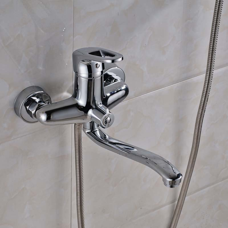 Long Tub Spout Bathroom Wall Mount Faucet with ABS Handshower and ...
