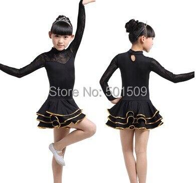 Бесплатная доставка детская с длинным рукавом латинских танцев кружевное платье черный/красный/желтый