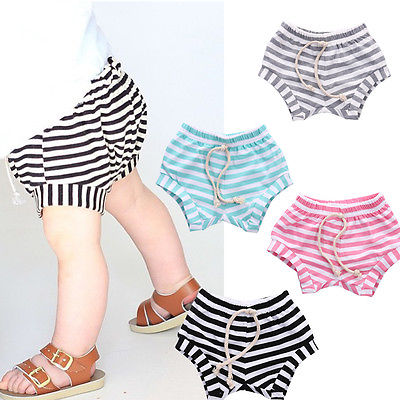 Baby Boys striped bandage trawstring Shorts PP shorts Bloomers Cotton Leisure Bottoms Trousers