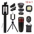 Lentes de teléfono 12in1 kit 12x teleobjetivo lentes de ojo de pez de gran angular macro + selfie + remote + trípode + clips + la luz del flash para el smartphone