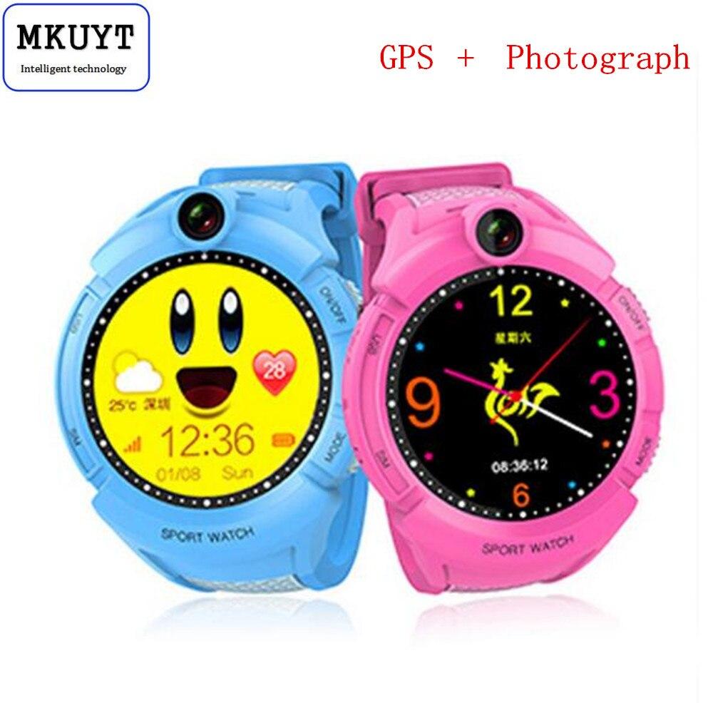 MKUYT GPS Phone Positioning Fashion Children Watch 1.22 Inch Color Touch Screen SOS Smart Watch for all smartphonesPK Q80 Q90 smart baby watch q60s детские часы с gps голубые