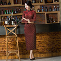 Qipao Rushed Spandex Chinese Dress 2016 New Nine Double Sleeve Wind Fashion Lace Stitching Improved Long Velvet Cheongsam