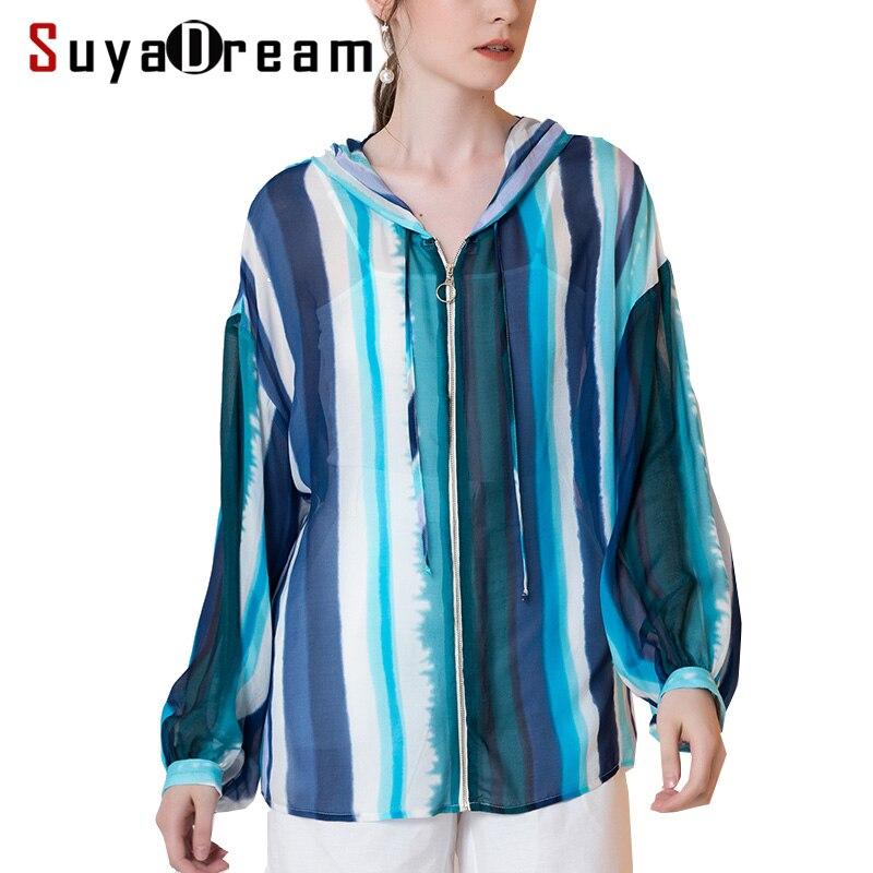 Women Jacket 100%Mulberry Silk Georgette Casual Zipper Striped Printed Transparent Jackets 2018 Fall Winter Winter Blue