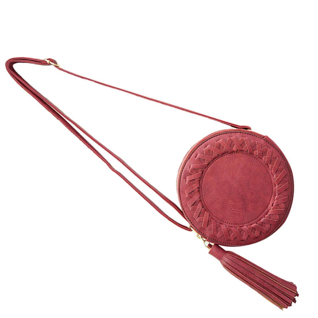 Популярная Новая модная женская сумка с кисточками, круглая плетеная Сумка через плечо, сумка-мессенджер, Женская милая сумка через плечо