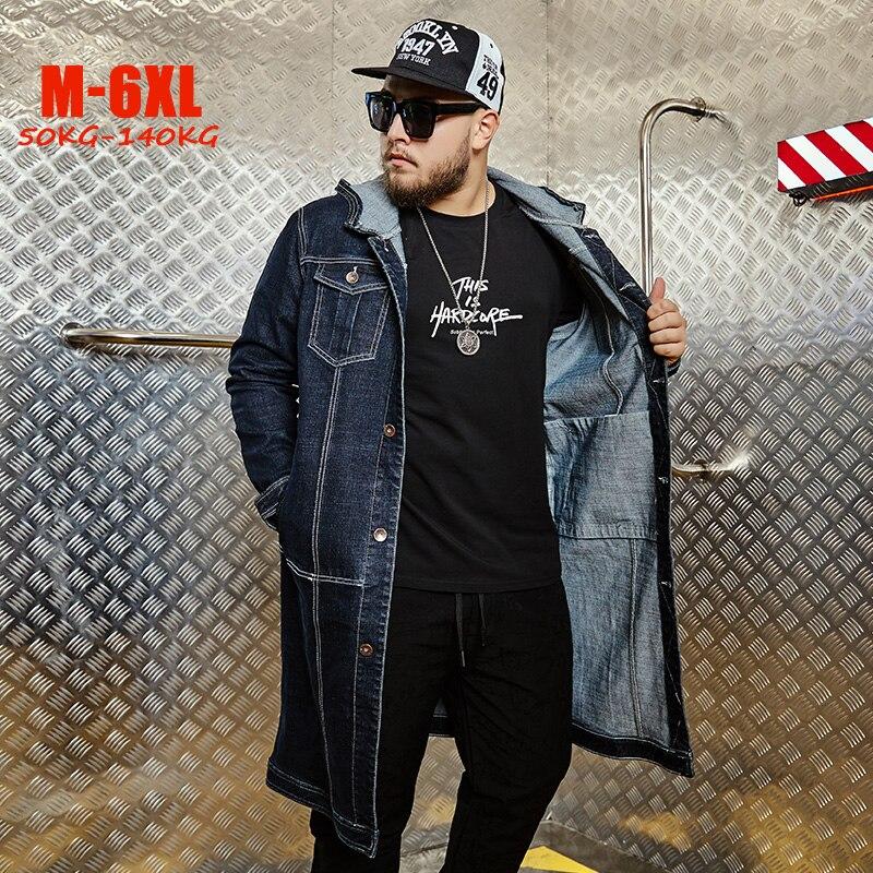 Plus Size Jean   Trench   Men M-6XL Spring Long Men Denim Coat Hip hop Big Size Men   trench   Hooded Long Outerwear Coats for men