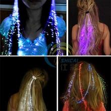 Flash LED Hair Light Emitting Fiber Optic Pigtail Braid Plait Luminous Hair Wig KTV Party Prom Supplies Hair Accessory headdress