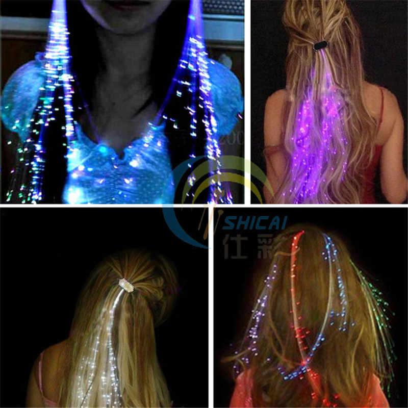 Flash led luz do cabelo emitindo fibra óptica trança tranças plait luminoso peruca de cabelo ktv party prom suprimentos acessório de cabelo headdress
