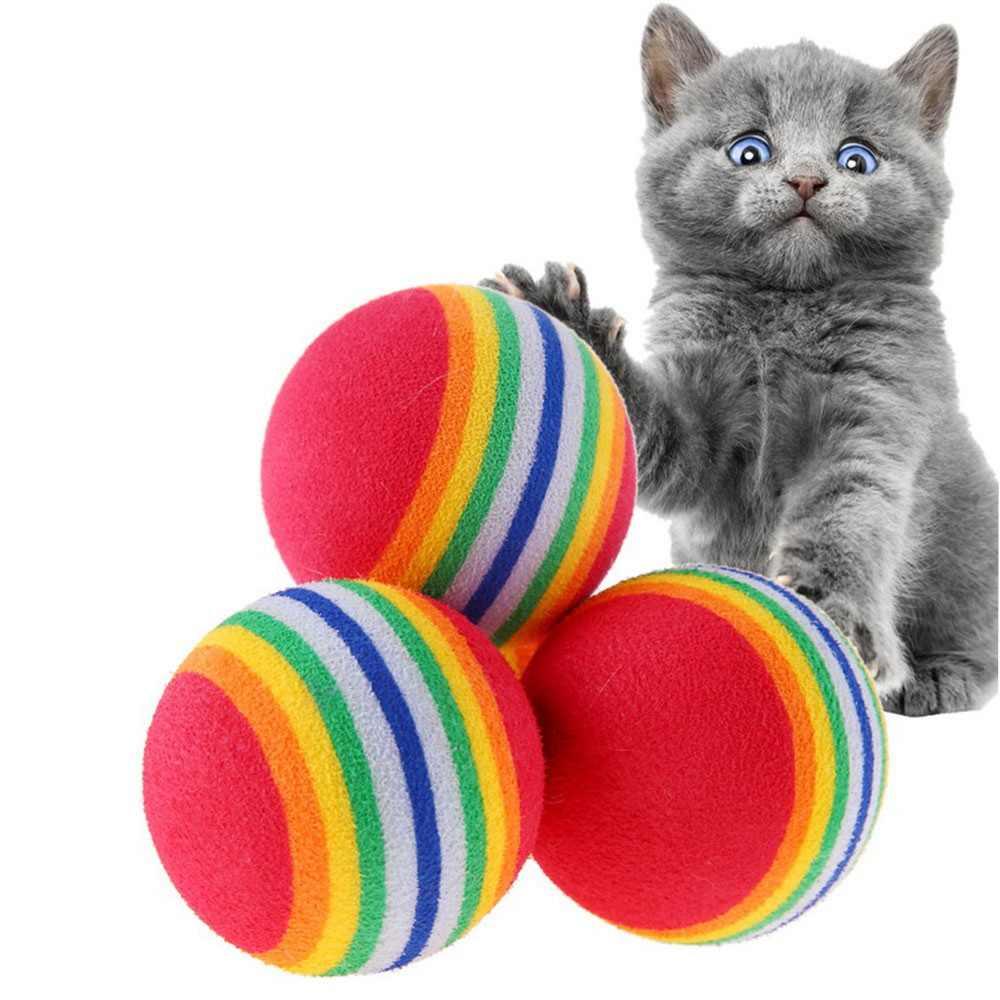 Huisdier Kat Speelgoed Kauwen Regenboog Ballen Speelgoed Voor Pet Dog Katten Bite Molars Spelen Kleine Tennisbal Speelgoed Voor Puppies kitten Plezier Hebben HZ0006