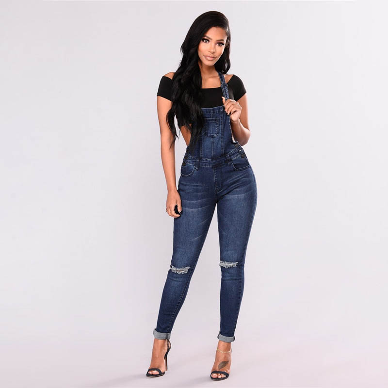 Spring Women Overalls Cool Denim Jumpsuit Ripped Holes Casual   Jeans   Sleeveless Jumpsuits Hollow Out Rompers 3XL 2019 New