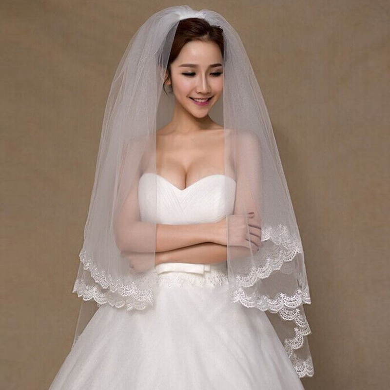 1Tier Bridal Veil Beautiful Ivory Cathedral Short Wedding Veils Lace Edge With Comb Bride Veils