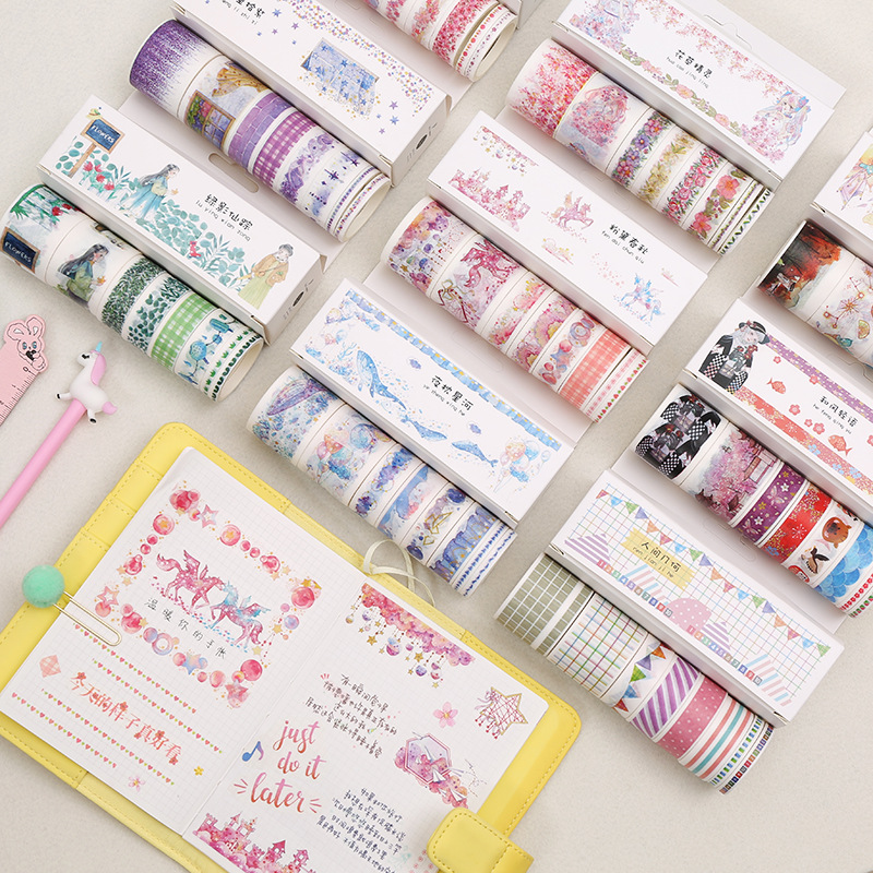 8pcs/pack Colorful Dreamland Washi Tape Japanese Masking Tape Decorative Adhesive Tape Diy Scrapbooking Sticker Label Stationery