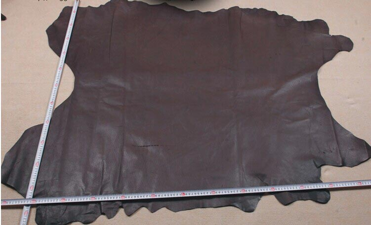 coffee Genuine Pig grain skin leather material sale by whole piece