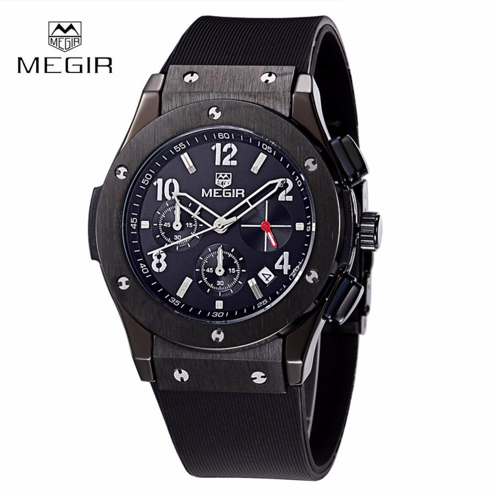 Prix pour Relojes Hombre MEGIR Sport Montre Hommes Silicone Montre Étanche Date Quartz Militaire Montres Homme Horloge Relogio Masculino