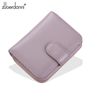 Image 2 - 2017 new womens wallet short section multi function card package womens wallet zipper leather driving license leather case wom