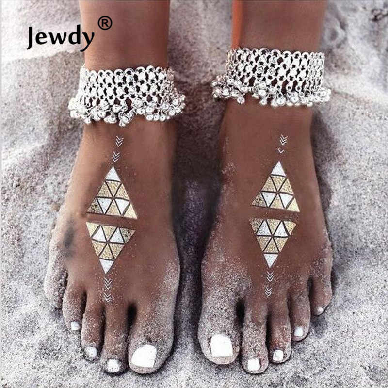 Boho obrączki artystyczna srebrna kolor Anklet Chain Bell koraliki bransoletka na kostkę Foot biżuteria dla kobiet Barefoot sandał prezent