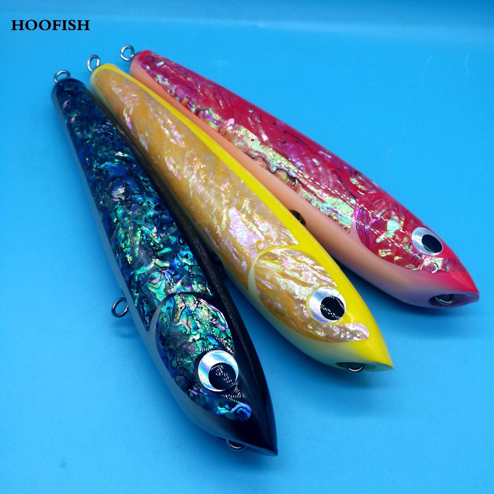 HOOFISH 1PCS Topwater Wooden Stick bait GT Surface Trolling Lures 120g/22cm 3colors Deep Sea Handmade Fishing Lure 85g wooden popper cantboard lure sea fishing wooden trolling boat artificial bait top water wood bird trolling fishing lure