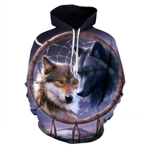 New Fashion Wolf Hoodies Men women 3d Sweatshirts Print Double Wolf Hoody Hooded Hoodies Tracksuits Tops