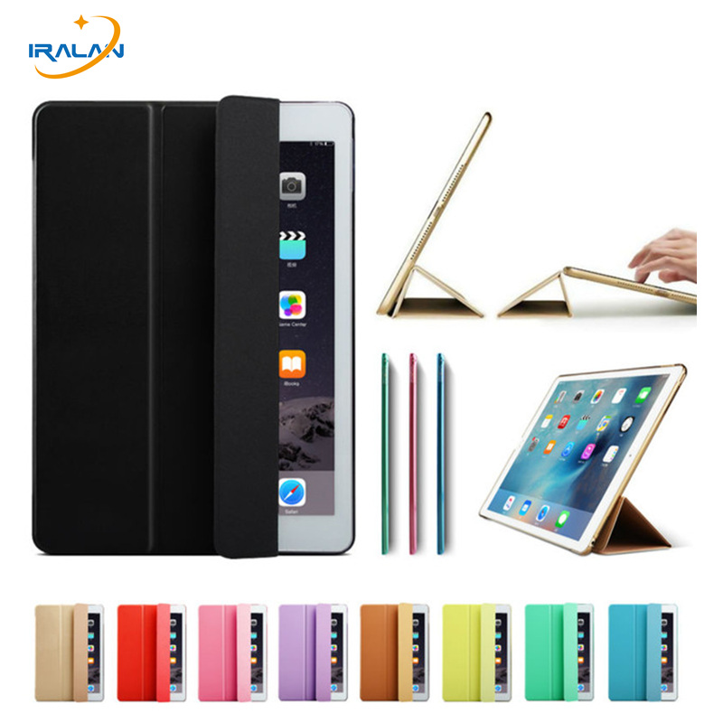 Ultra Slim Transparent Back Case for iPad Pro 12.9 Color Leather Tri-fold Tablet Smart Cover for iPad Pro 12.9 inch+stylus+film