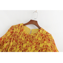 SheMujerSky kobiety żółty kwiatowy Midi sukienka plaży latem kobieta sukienka O-neck sukienka letnia 3
