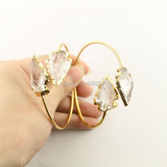 Fashion 5Pcs Gold Color Double Natural White Quartz Bracelet Golden