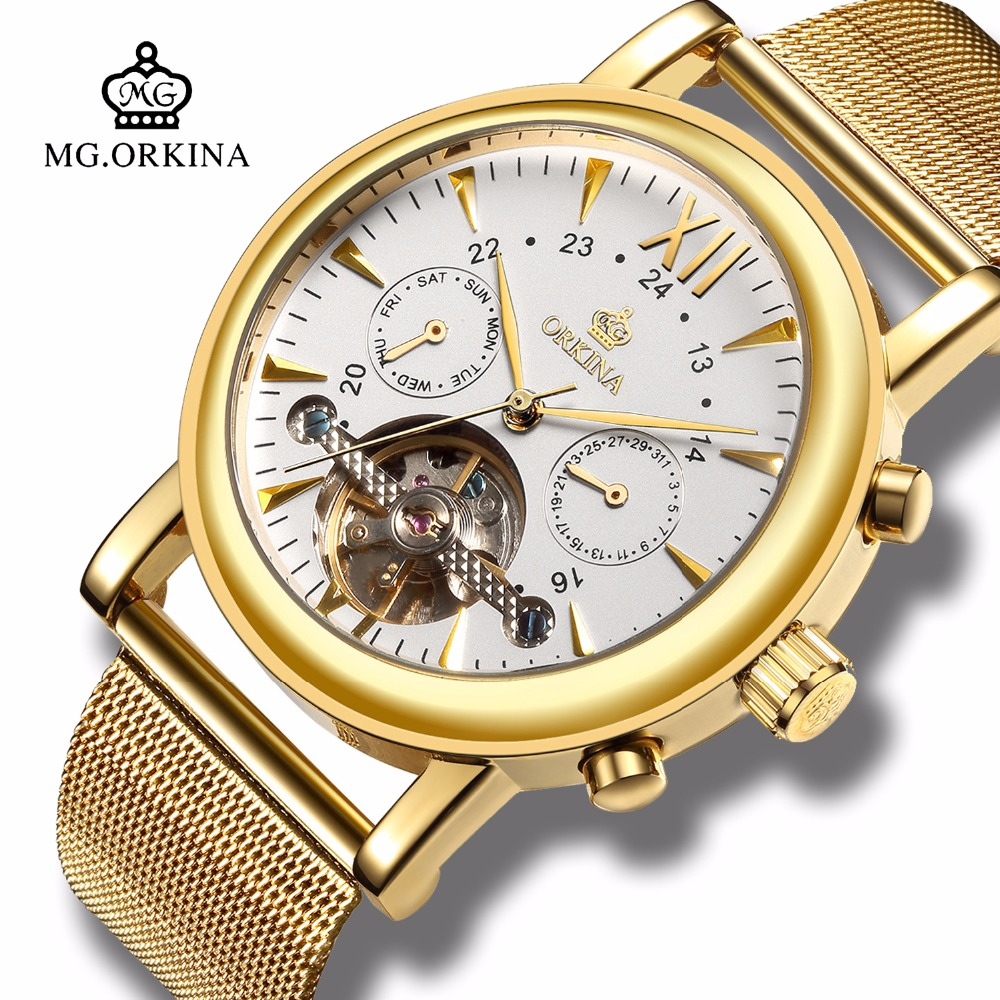 Luxury Gold Metal Tourbillon Mechanical Wrist Watches Mg.orkina Mens Automatic Self Wind Auto Date Week Transparent Watch Clock original binger mans automatic mechanical wrist watch date display watch self wind steel with gold wheel watches new luxury