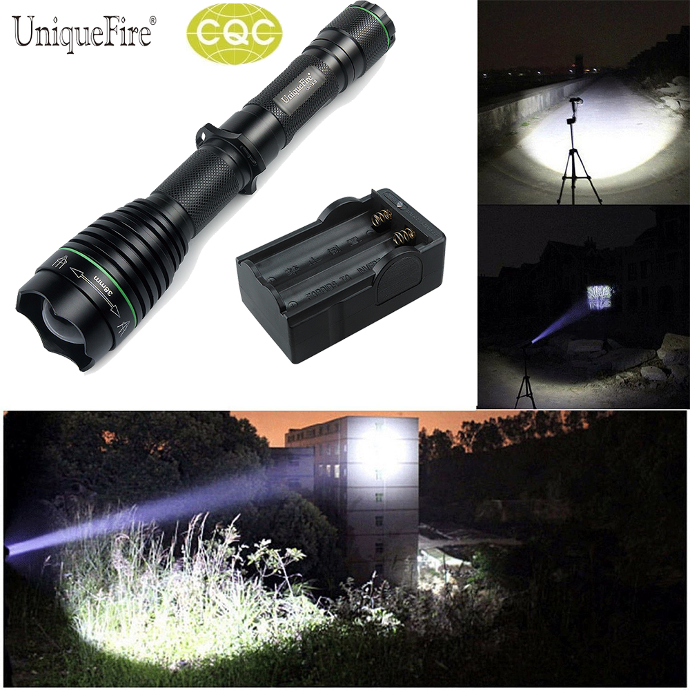 ФОТО UniqueFire 1508-38 XML-T6 LED Flashlight Ultra Bright  Water Resistant Of 5 Modes Lantern 18650 For Outdoor +Two Slot Charger