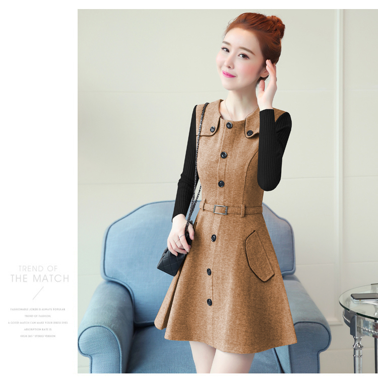 winter new round collar single-breasted cloth dress belt buttons A word women dresses Korean fashion outfit lady vogue vestido 27