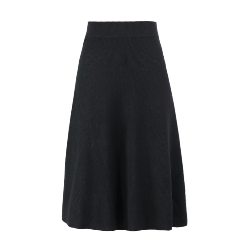 Classic Design Soft Thick Solid Color Knitted A Line Skirt Elastic Skirt 2019 Fashion Streewear Wool Womens Winter
