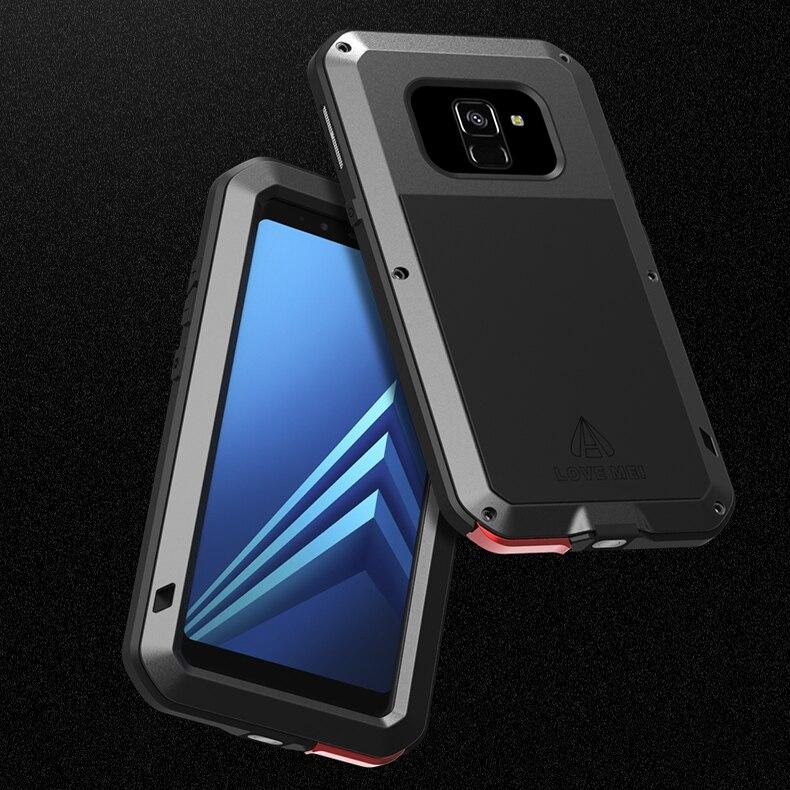 + Gorilla Glas Metall Fall Für Samsung Galaxy A8 2018 A6 Plus Stoßfest 360 Volle Körper Rüstung Abdeckung Für Samsung a8 2018 Fall Duo