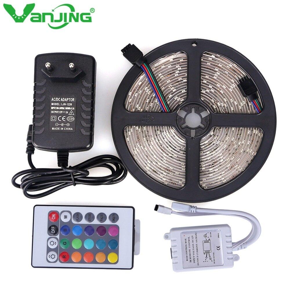 Водонепроницаемый 3528 Светодиодные ленты 300 светодиодный s 5 м + 12 В 2A Мощность адаптер, 24Key ИК-пульт дистанционного управления только для RGB по...