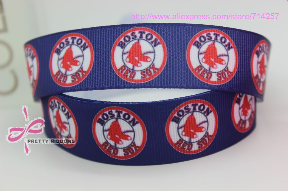 new hot 7/8 Free shipping boston red sox sports printed grosgrain ribbon bow diy party decoration custom wholesale 22mm P390