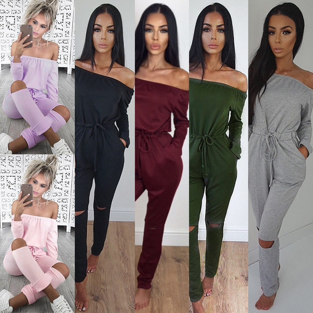 7581c4a20 Womens Off The Shoulder Casual Long Sleeve Rip Knee All In One Jumpsuit  Rompers Bodysuit Women Rompers Womens Jumpsuit