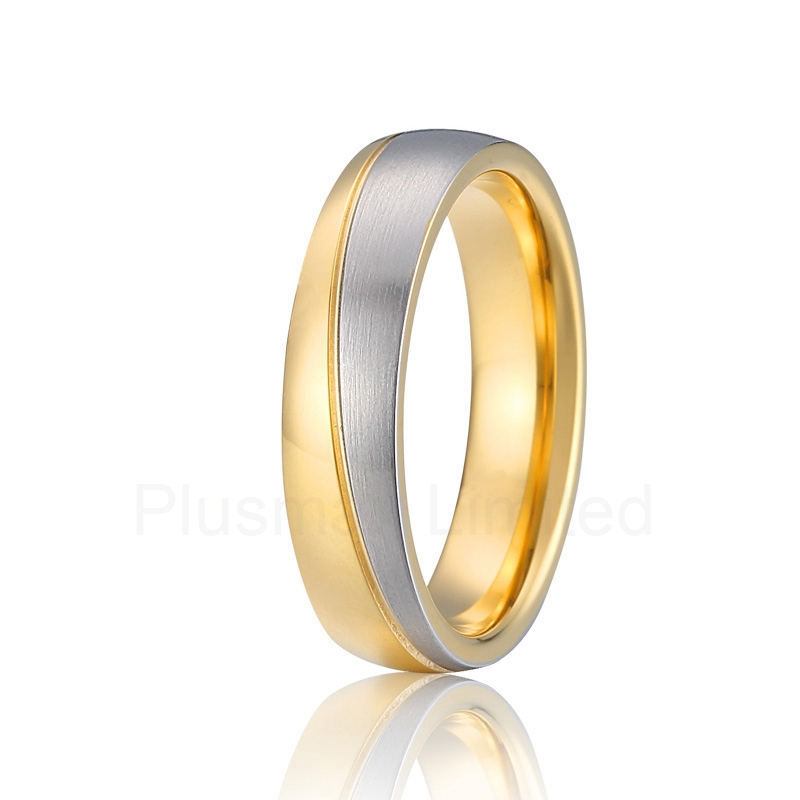 Trauringe anel gold color two tone wedding band pure titanium rings for men anel feminino ouro gold color two color europe style cheap custom titanium promise wedding rings band women