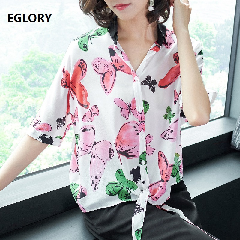 New Plus Size Shirt 2018 Summer Blouse Women Butterfly Print Half Sleeve Loose Tops Blouses Woman Pure Silk Shirt Blouse Female