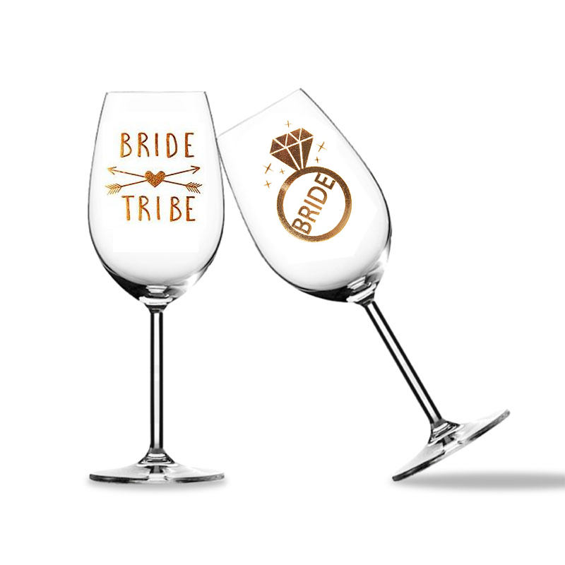 Team Bride Tribe Bridesmaid Groom Mr Mrs Wine Glass Sticker For Bride To Be Bachelorette Hen Party Bridal Shower Decoration Gift