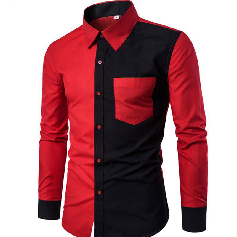 High Quality2019 Autumn Winter New Cotton Men Shirt  Fashion Black Red Patchwork Casual Slim Long-sleeved Shirt Camisa Masculina