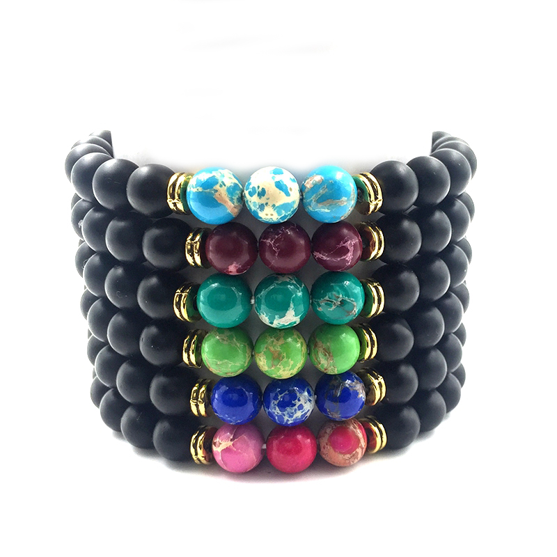 Hot 8mm Matte Beads & 6 Color Imperial Bead Bangle Jewelry Men Bracelet 2018 Jewelry Gold Color Alloy Gifts for Women B18072