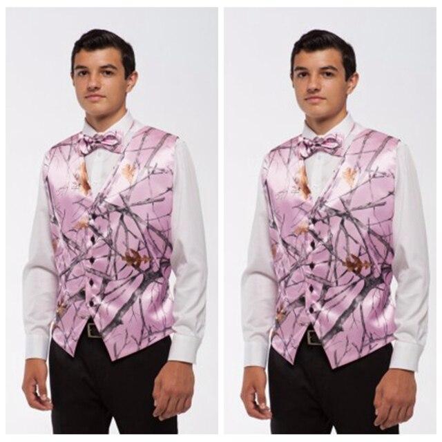 Pink Camo Mens Vest Formal Buttons Tuxedo Vests for Men Suit ...